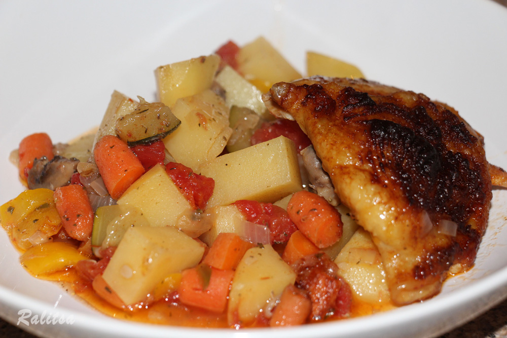 Baked Vegetables with Chicken Thighs